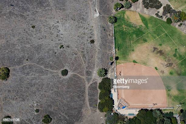 The Bogdanovich Recreation Center baseball field stands in this aerial photograph taken over San Pedro California US on Monday Aug 31 2015 The US...