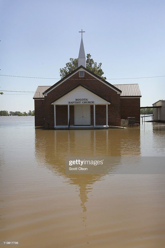The Bogota Baptist Church is surrounded by floodwater from the Obion River May 6, 2011 in Bogota, Tennessee. The Obion feeds into the Mississippi River near Bogota. Heavy rains have left the ground saturated, rivers swollen, and have caused widespread flooding in Missouri, Illinois, Kentucky, Tennessee, and Arkansas.