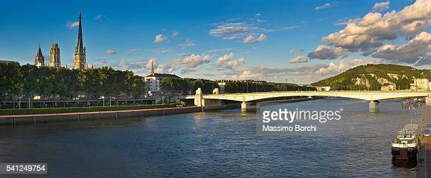 The Boieldieu bridge and the bell-tower of Notre Dame Cathedral, Rouen, Lower Normandy, France