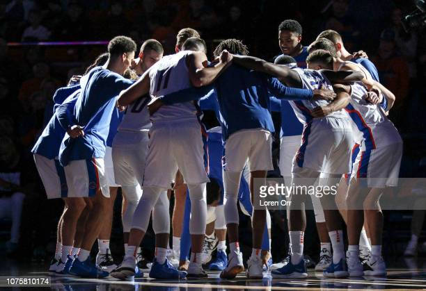 The Boise State Broncos prepare themselves for first half action against the Oregon Ducks on December 29 2018 at Taco Bell Arena in Boise Idaho