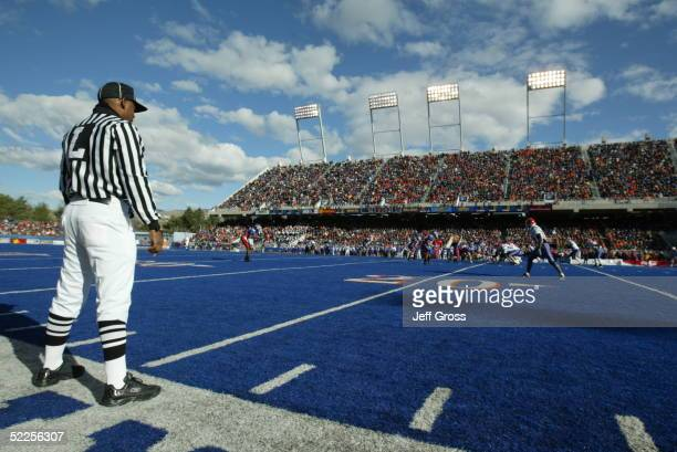 The Boise State Broncos wait for the Louisiana Tech Bulldogs to start the play at Bronco Stadium on November 20 2004 in Boise Idaho Boise State...