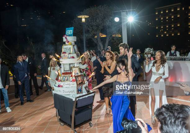 The Bold and the Beautiful cast pose on the dance floor for a photo celebrating the 'The Bold and The Beautiful' 30th Anniversary Party during the...