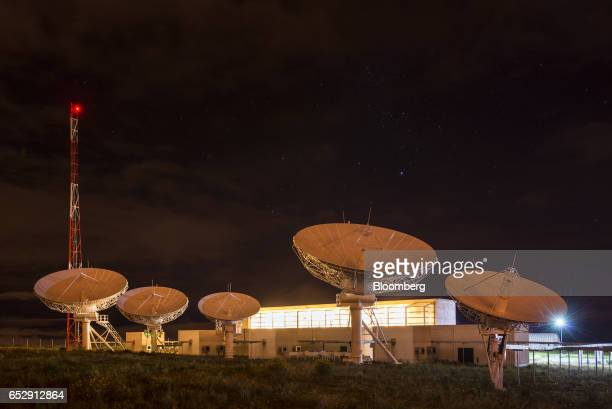 The Bolivian Space Agency Amachuma Ground Station stands at night in Achocalla La Paz Department Bolivia on Wednesday March 1 2017 Created in 2010...