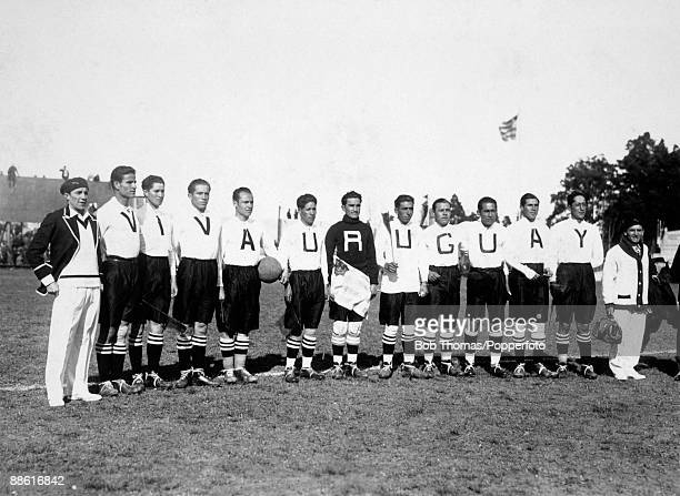 The Bolivian team line up before their FIFA World Cup match against Yugoslavia at the Parque Central in Montevideo 17th July 1930 They are wearing...