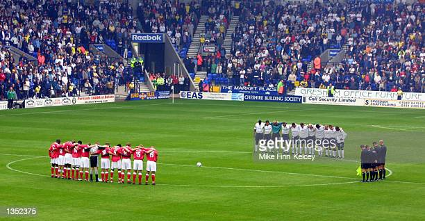 The Bolton and Charlton players observe a minutes silence in honour of Holly Wells and Jessica Chapman during the FA Barclaycard Premiership match...
