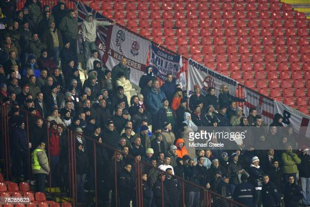 The Bolton Wanderers supporters during the Crvena Zvezda v Bolton Wanderers UEFA Cup Group F match between Crvena Zvezda and Bolton Wanderers at the...