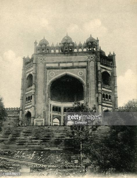 The Bolund Gate, Futtehpur Sikri. Agra'. The Buland Darwaza is a monumental gateway, built in 1601, to the Jama Masjid [mosque] in Fatehpur Sikri,...