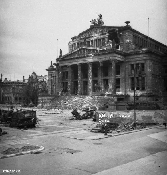 The bomb damaged ruins of the Konzerthaus Berlin concert hall following the allied occupation of Berlin, Germany, July 1945. .