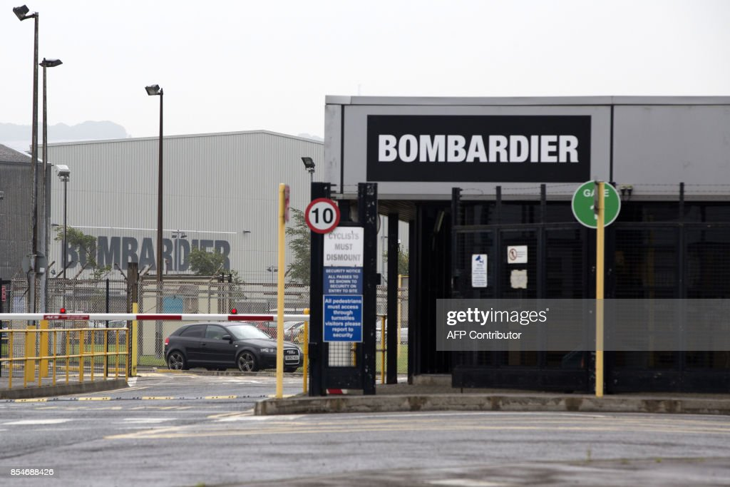 The Bombardier headquarters and factory are pictured in Belfast on September 27, 2017. The US Commerce Department on September 27, 2017, said it would impose anti-dumping duties of 220 percent on Bombardier's CSeries jets, following an investigation into state subsidies sparked by a Boeing complaint. / AFP PHOTO / Paul FAITH