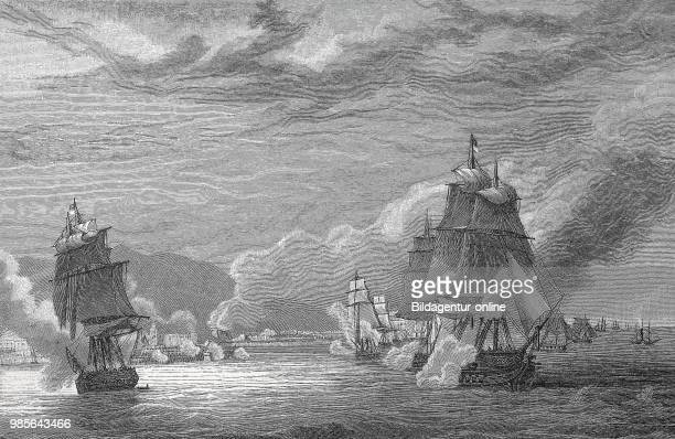 The bombardment of Algiers by the French fleet on 3 July 1830 Algeria digital improved reproduction of an original print from the 19th century