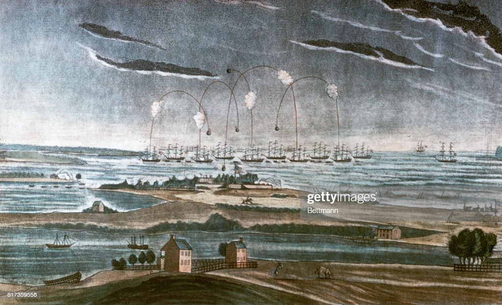 A View of the Bombardment of Fort McHenry by J. Bower : News Photo