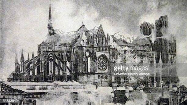 The bombardment of Rheims Cathedral during the Great War Dated 20th Century