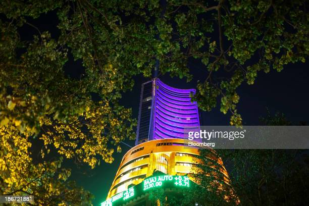 The Bombay Stock Exchange building is illuminated during a special holiday trading session marking the occasion of Diwali at the Bombay Stock...