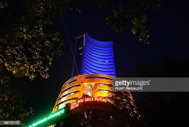 The Bombay Stock Exchange building is seen illuminated during a special trading session on the occasion of Diwali the Festival of Lights in Mumbai on...