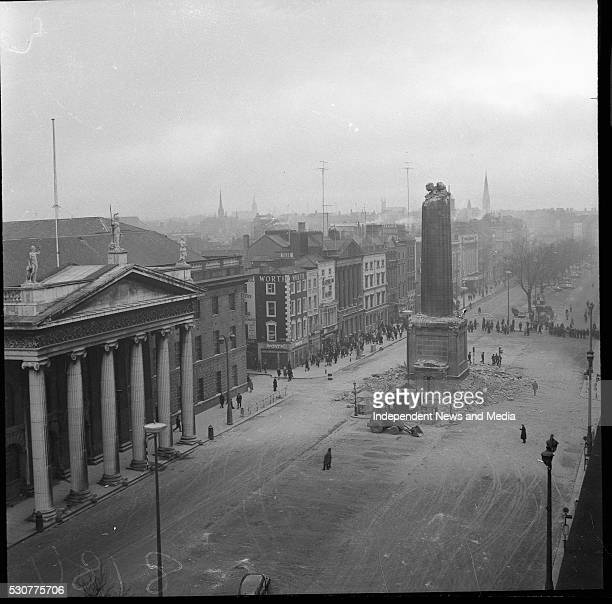 The bombing of Nelson's Pillar in O Connell Street some of the remains of the pillar and the damge that was caused circa March 1966