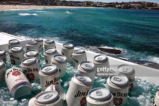 The Bondi Icebergs Pool was converted into a giant esky ice chest during the filiming of a Jim Beam commercial at Bondi Icebergs on March 21 2013 in...