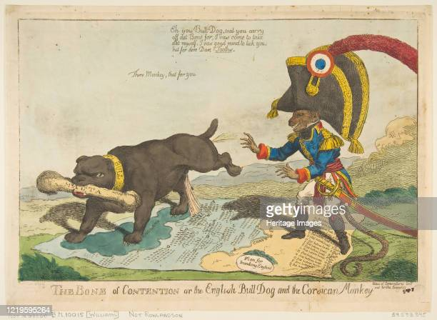 The Bone of Contention or the English Bull Dog and the Corsican Monkey, June 14, 1803. Artist Charles Williams.