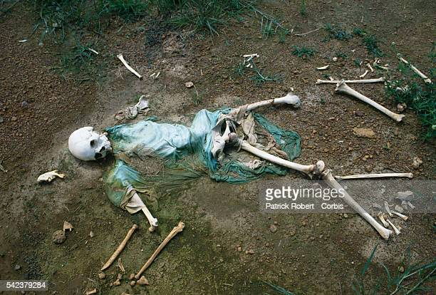 The bones of a war victim lie on the ground of Monrovia's Spriggs Payne Airport Responding to years of government corruption and oppression in 1989...