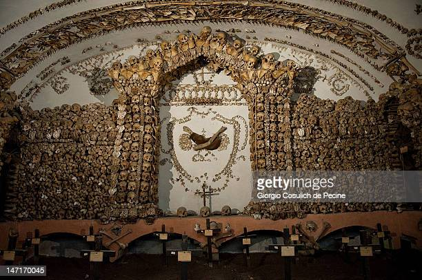 The bones of the Capuchin monks decorate the wall and the ceiling of the crypt during the opening of the museum in the Capuchin convent of the...