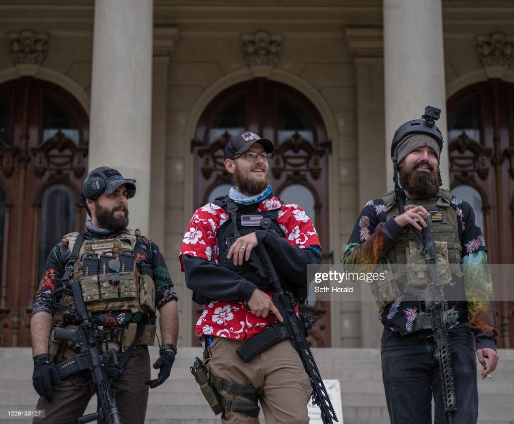 Michigan Militia Members Rally At State Capitol In Lansing : News Photo