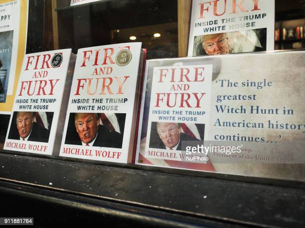 The book 'Fire and Fury' by Michael Wolff about the Trump presidency goes on sale in library on Liverpool station on January 25 2018 in London England