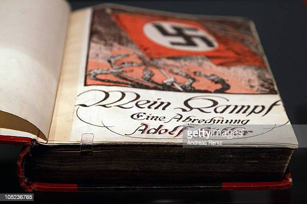 The book 'Mein Kampf' by Adolf Hitler is pictured during a press preview of 'Hitler and the Germans Nation and Crime' at Deutsches Historisches...