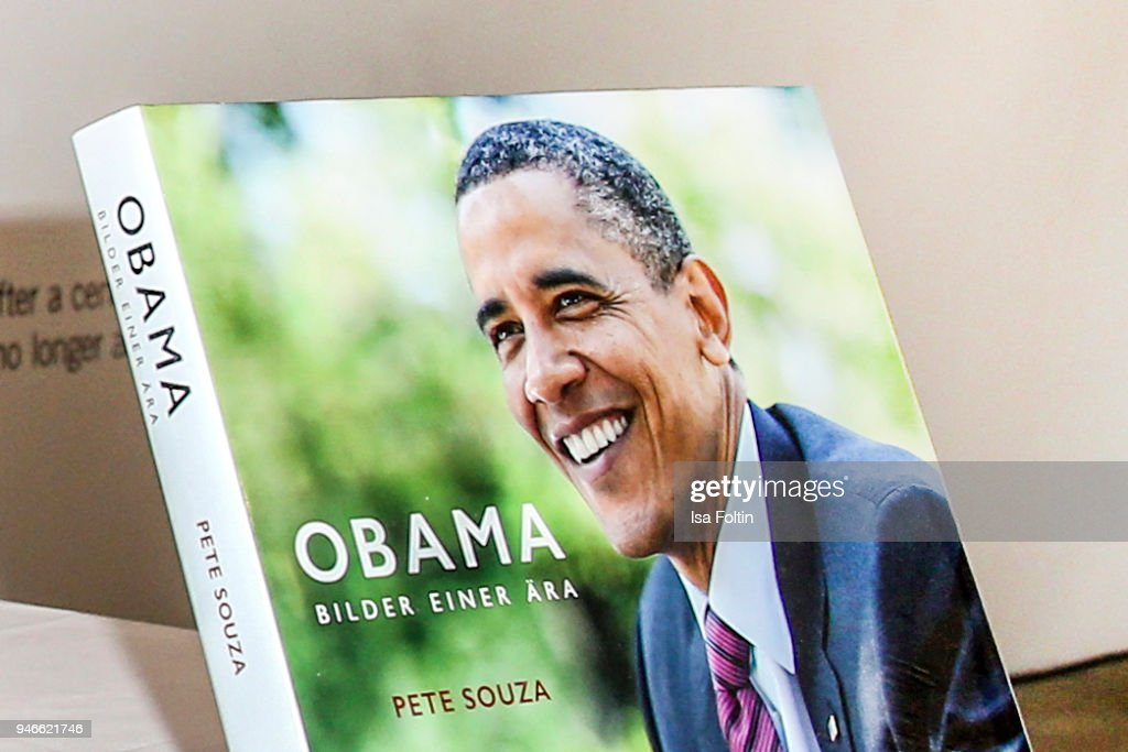 The book 'Obama: An Intimate Portrait' of photographer Pete Souza at Kennedy Museum on April 15, 2018 in Berlin, Germany. The exhibition shows 65 photographs taken from the oeuvre of Pete Souza, former Chief White House Photographer (2009-2017) and will be open until April 29, 2018.