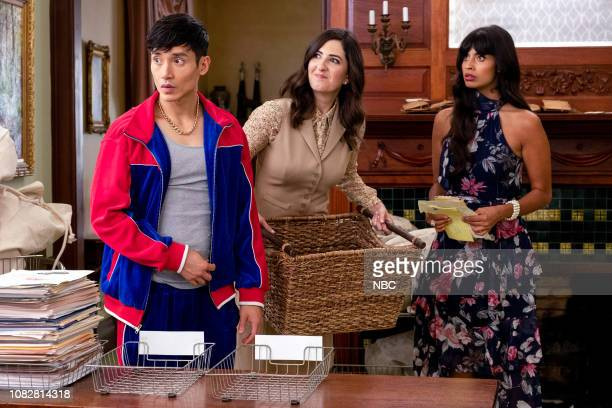 PLACE The Book of Dougs Episode 311 Pictured Manny Jacinto as Jason Mendoza D'Arcy Carden as Janet Jameela Jamil as Tahani