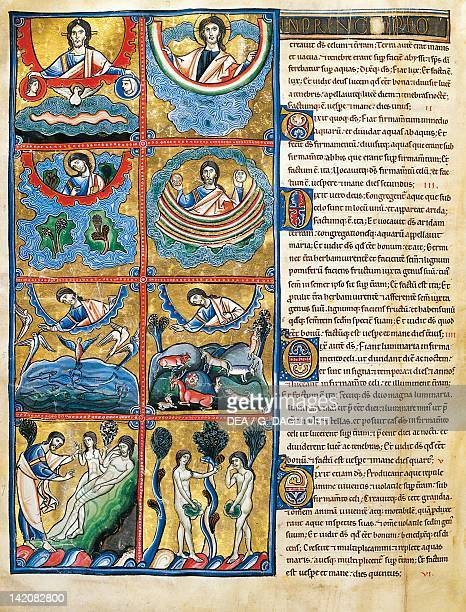 The Book of Genesis the creation of the world miniature from the Bible of Souvigny Latin manuscript 12th Century
