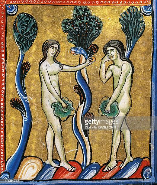 The Book of Genesis the original sin of Adam and Eve miniature from the Bible of Souvigny Latin manuscript 1 folio 4 verso 12th Century