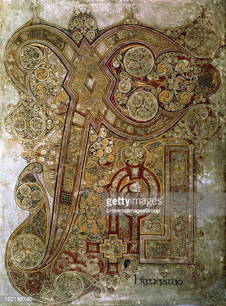 The Book of Kells Chi Rho monogram Folio 34r 8th century Trinity College Library Dublin Ireland