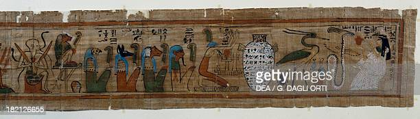 The Book of the Dead imagery with the four sons of Horus Amset Hapi Duamutef and Qebehsenuf guardians of the canopic jars and the deceased on his...
