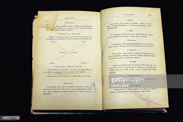 The book Rettili Umani that it is belived to be belonged to Amedeo Modigliani is displayed in a bank vault on May 10 2016 in Livorno ItalyThe artist...