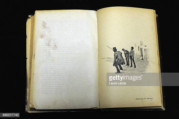 The book Rettili Umani with some fingerprints on the left side that it is belived to be belonged to Amedeo Modigliani is displayed in a bank vault on...