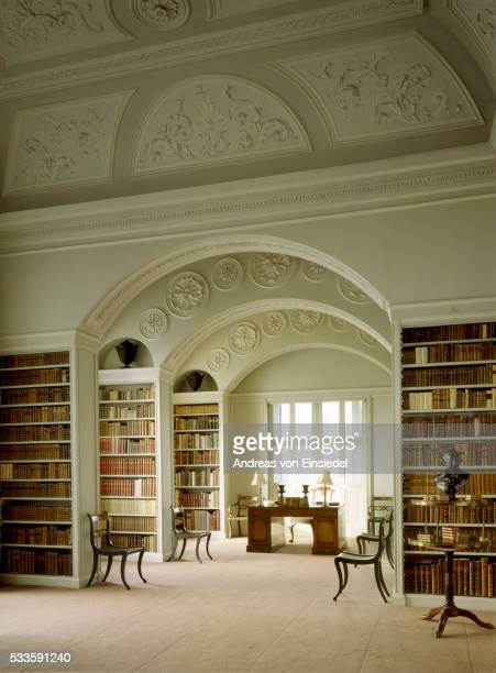 The Book Room, view from the Gallery door looking through the three arches towards the window at Wim