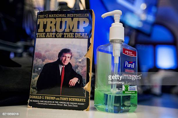 """The book """"The Art Of The Deal"""" by U.S. President-elect Donald Trump is displayed on top of a desk on the floor of the New York Stock Exchange in New..."""