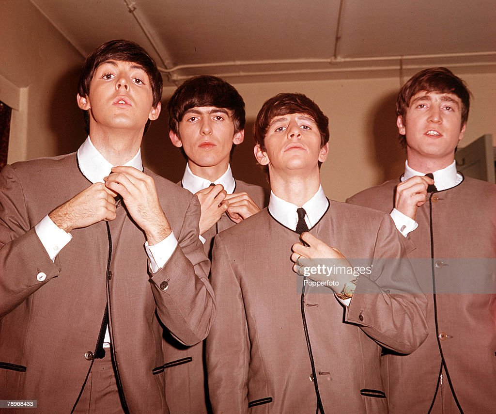 """The Book. Volume 1: Page 12, Picture 8. 1963. A picture of the legendary English rock group """"The Beatles"""". L-R: Paul McCartney, George Harrison, Ringo Starr, and John Lennon. : News Photo"""