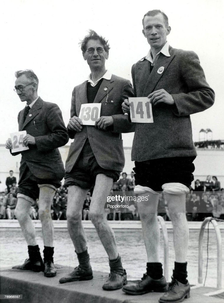 The Book, Volume 1, Page, 42, Picture, 10. 1940s. Competitors take part in the Knobbly Knees competition at Butlins Holiday camp. : News Photo