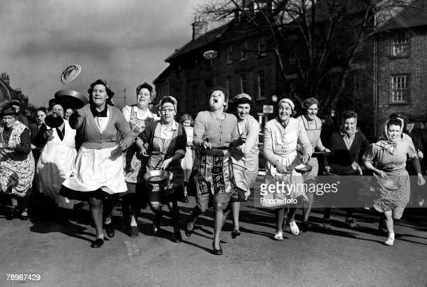 The Book Volume 1 Page Picture6th February 1951 The women of Olney Buckinghamshire rush through the streets tossing pancakes as they go
