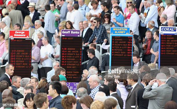 The bookmakers display new decimal betting before the Aldermore Conditions Stakes on April 28 2010 in Ascot England