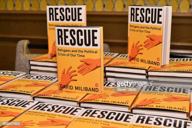 The books 'Rescue Refugees and the Political Crisis of Our Time' by David Miliband on display during 'This is Home A Refugee Story' New York Premier...