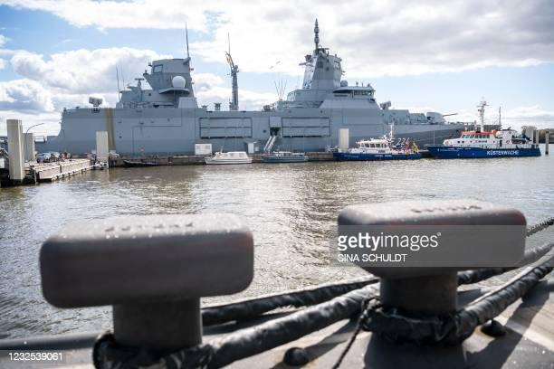 "The Boomeranger frigate ""Sachsen-Anhalt"" is docked at the Wilhelmshaven naval base in Wilhelmshaven, northern Germany, on April 26, 2021. - German..."