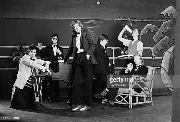 The Boomtown Rats Irish punk band pose in a group studio portrait in February 1979