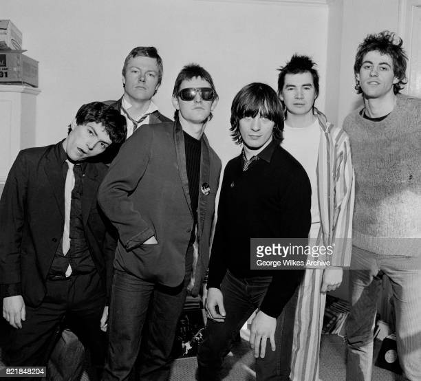 The Boomtown Rats left to right Pete Briquette Simon Crowe Gerry Cott Garry Roberts Johnny Fingers and Bob Geldof