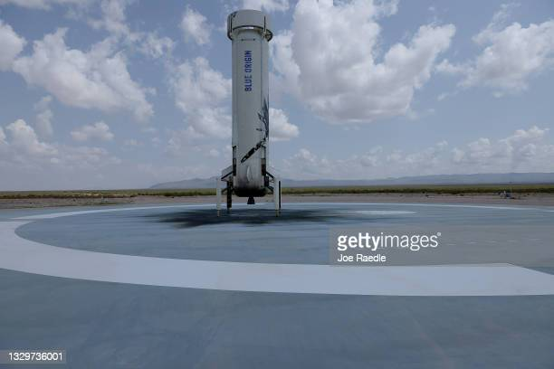 The booster for Blue Origin's New Shepard sits on the landing pad after powering the rocket into space on July 20, 2021 in Van Horn, Texas. Jeff...