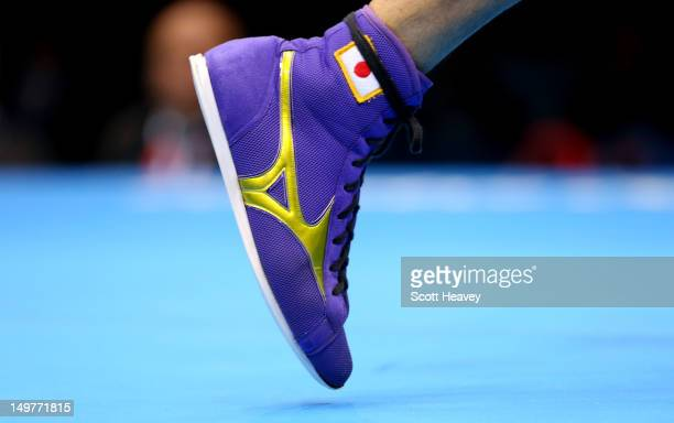 The boot of Yasuhiro Suzuki of Japan during his defeat to Serik Sapiyev of Kazakhstan during the Men's Welter Boxing on Day 7 of the London 2012...
