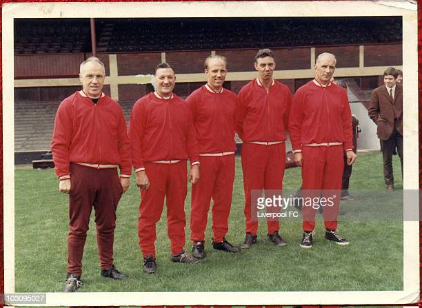 The Boot Room Boys Liverpool manager Bill Shankly poses with his coaching staff known as 'Liverpool Boot Room' Bob Paisley Ronnie Moran Joe Fagan and...