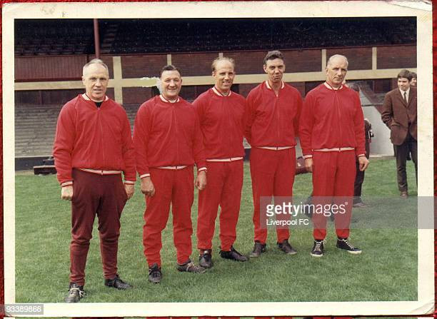 The Boot Room Boys Liverpool manager Bill Shankly poses with his coaching staff known as Liverpool Boot Room Bob Paisley Ronnie Moran Joe Fagan and...