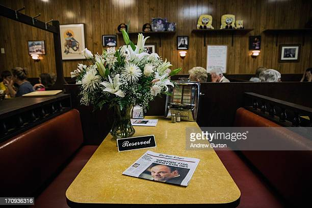 The booth at which the final scene of the final episode of the HBO show 'The Sopranos' was filmed is seen at Holsten's restaurant on June 20 2013 in...