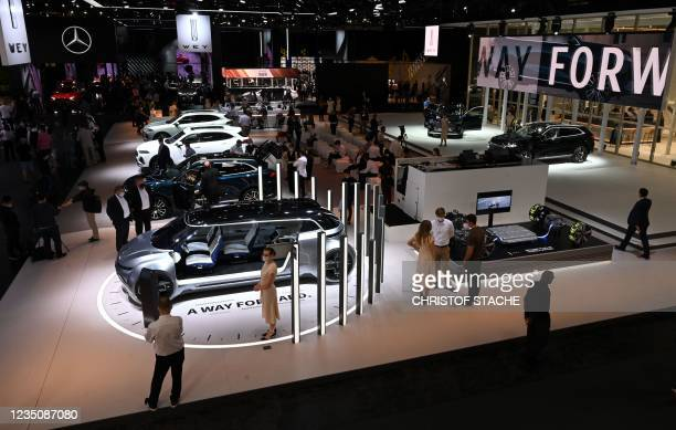 The booth of Chinese car maker Great Wall Motors is pictured during a press preview at the International Motor Show , on September 6, 2021 in Munich,...